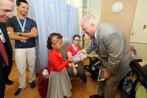 Gov. Larry Hogan chats with a young cancer patient at Hadassah Hospital.