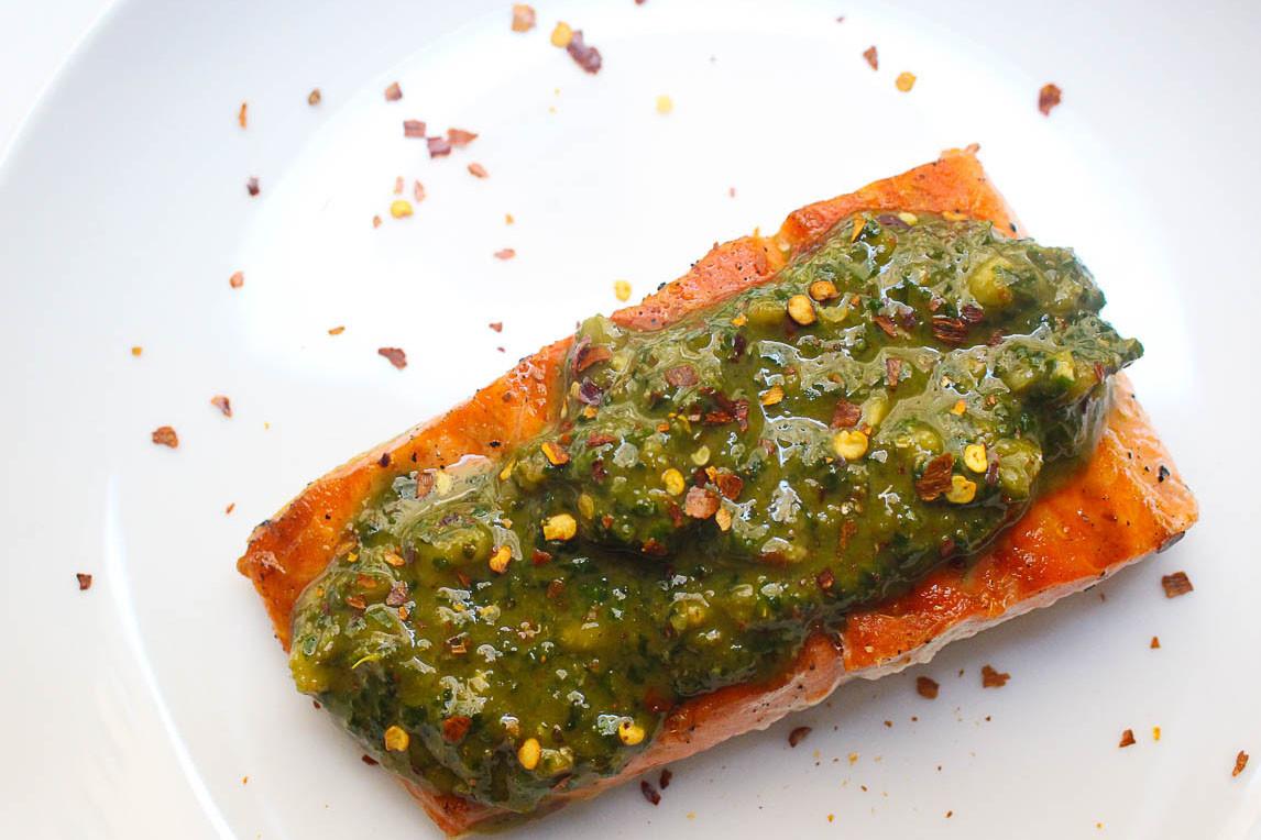 Walnut Chimichurri Salmon