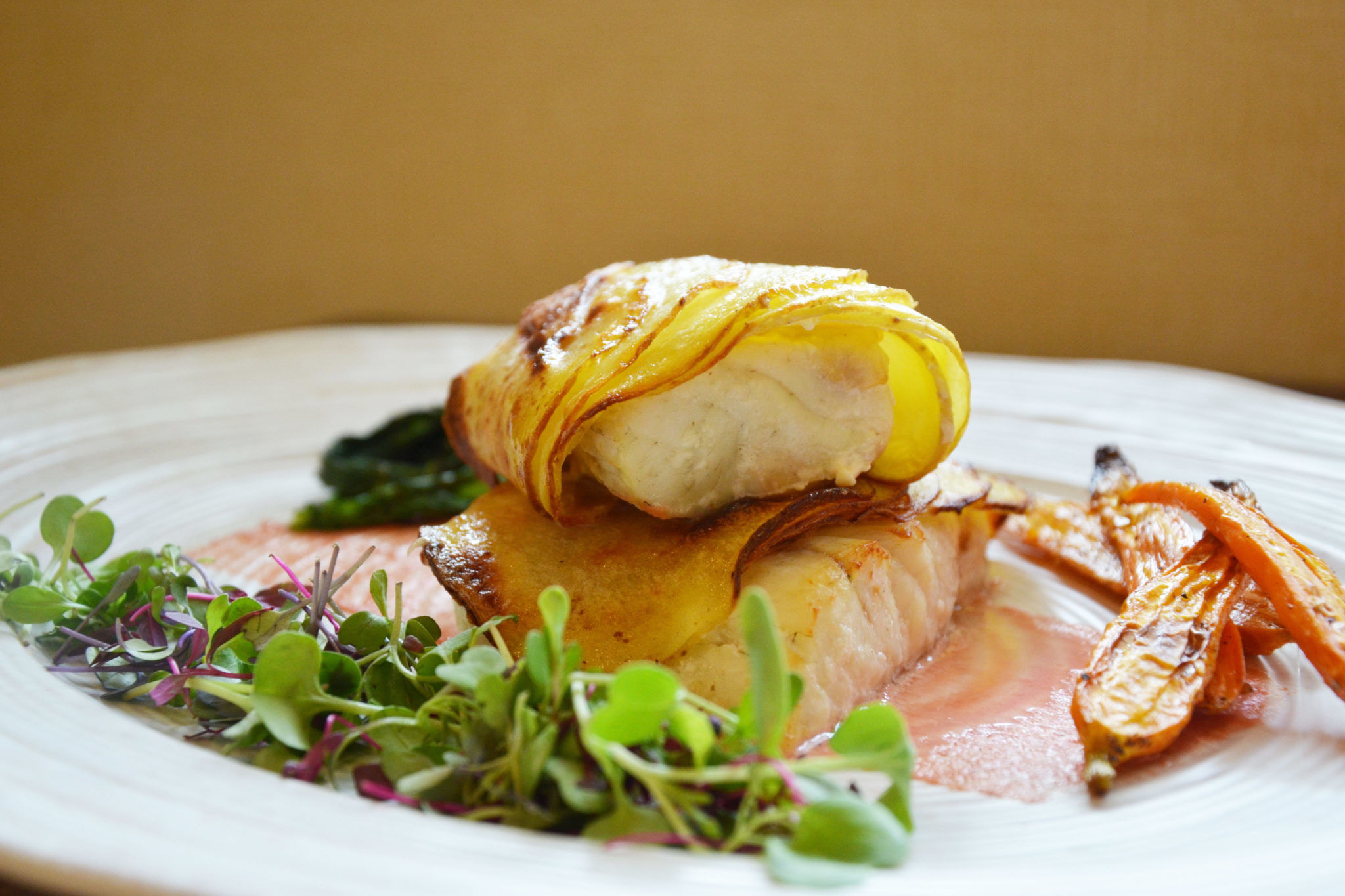 Potato Crusted Rockfish with Beet Butter