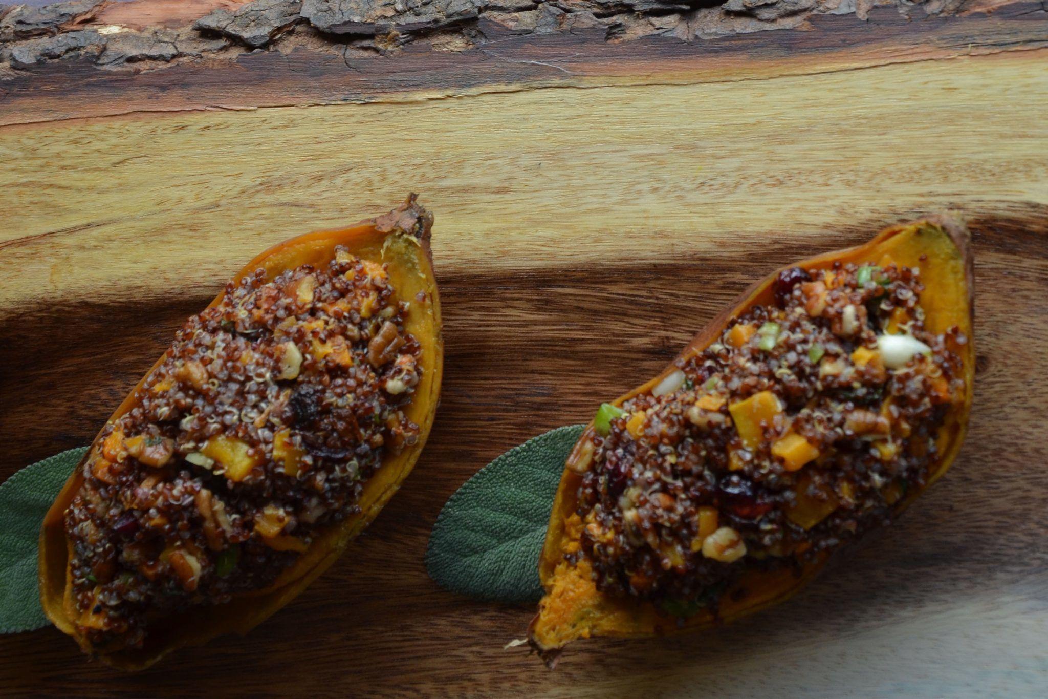 Roasted Sweet Potatoes Stuffed with Quinoa