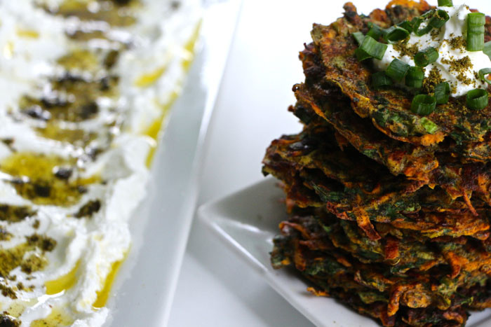 Sweet Potato-Kohlrabi Latke Thinnys with Homemade Labneh and Zaa'tar