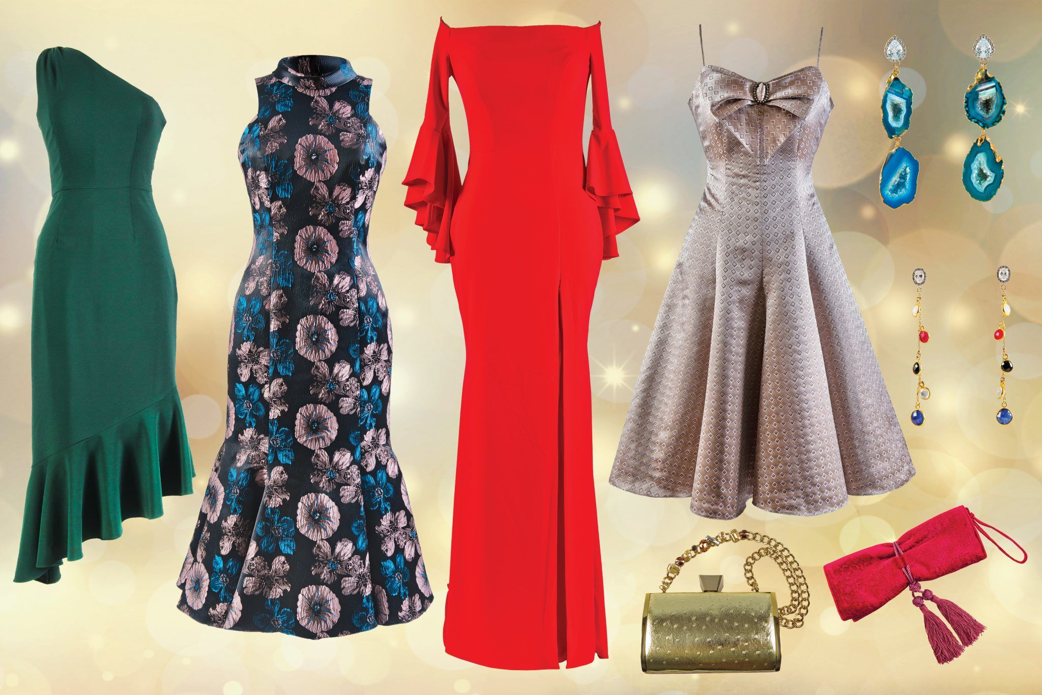 Stand out in party dresses bold in color and personality