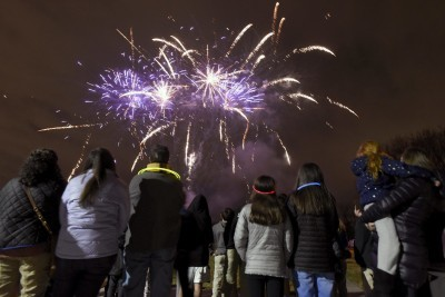Chizuk Amuno, Beth El Celebrate Chanukah with Party and Fireworks