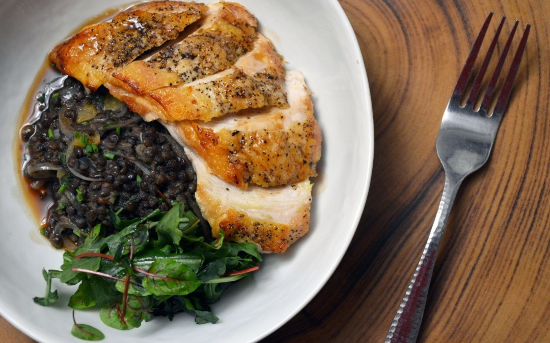 Roasted Chicken Breast and Black Lentil Stew with Arugula and Mache Salad