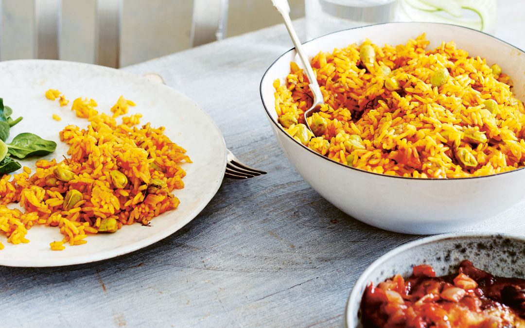Saffron Rice with Raisins and Pine Nuts - JMORE