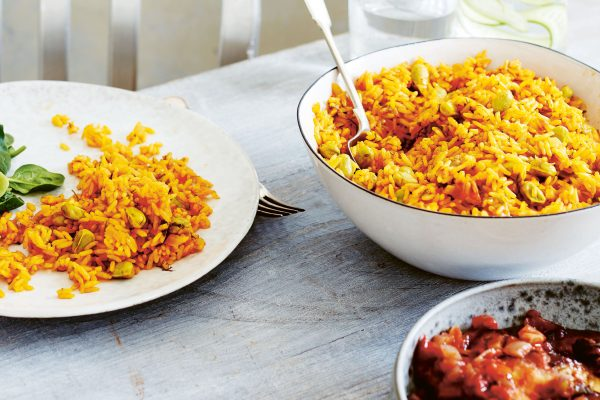 Saffron rice with raisins and pine nuts