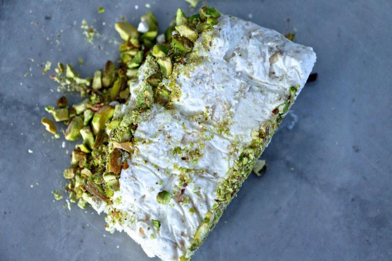 Halva-Pistachio Frozen Mousse Cake