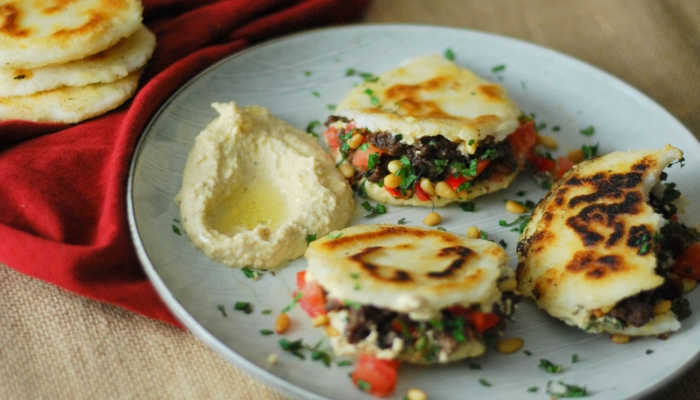 Spiced Lamb and Hummus Stuffed Arepas