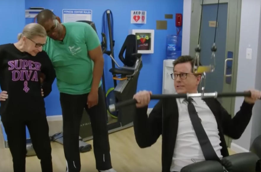 Stephen Colbert Worked Out with Ruth Bader Ginsburg. He Barely Kept Up.