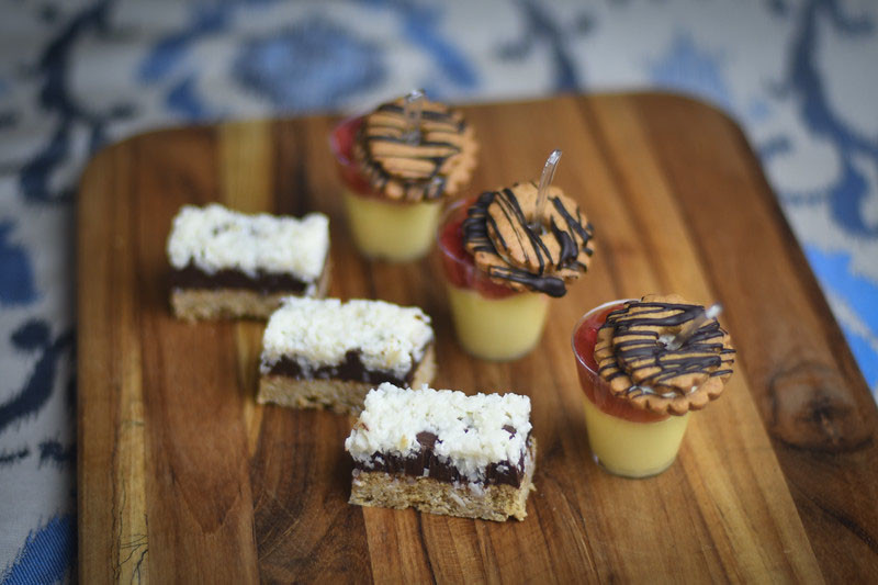 Coconut Fudge Bars, Strawberry Rhubarb Compote and Coconut Custard Shots