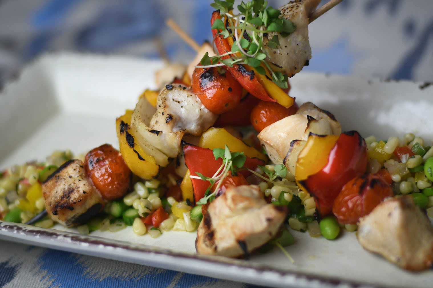 Grilled Chicken and Beef Fajita Kabobs