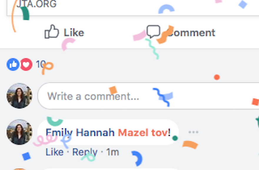 Saying 'Mazel Tov' on Facebook Now Activates a Colorful Confetti Animation