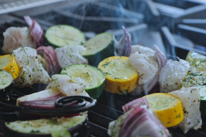 Simple Light Summer Fish Kabobs