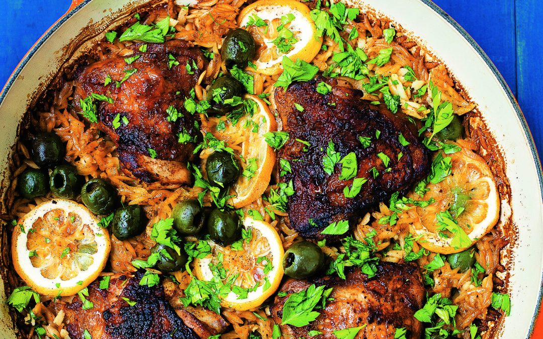 One Pot Paprika Chicken with Orzo and Olives Recipe