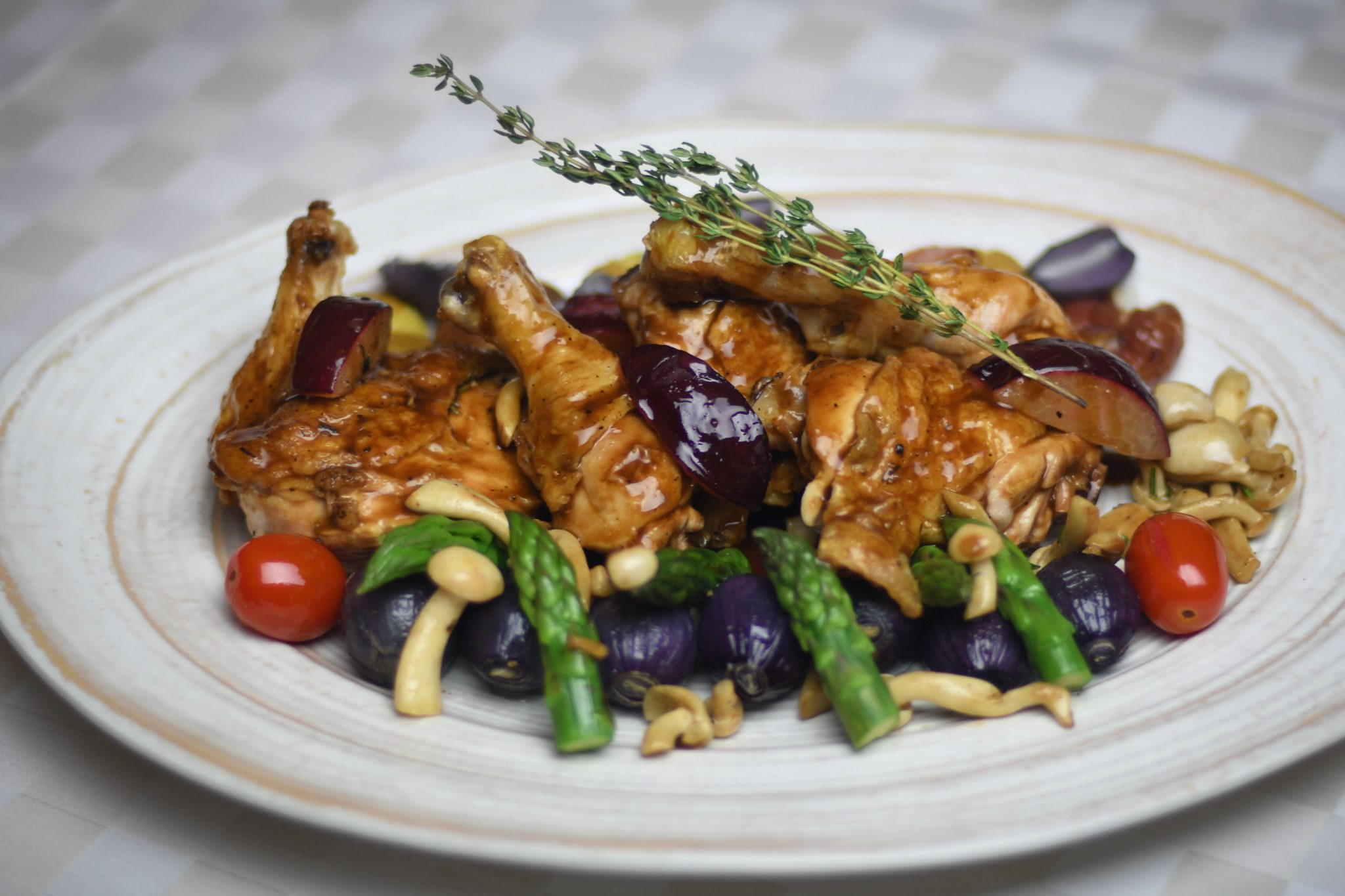 Pan Seared Chicken with Roasted Plums