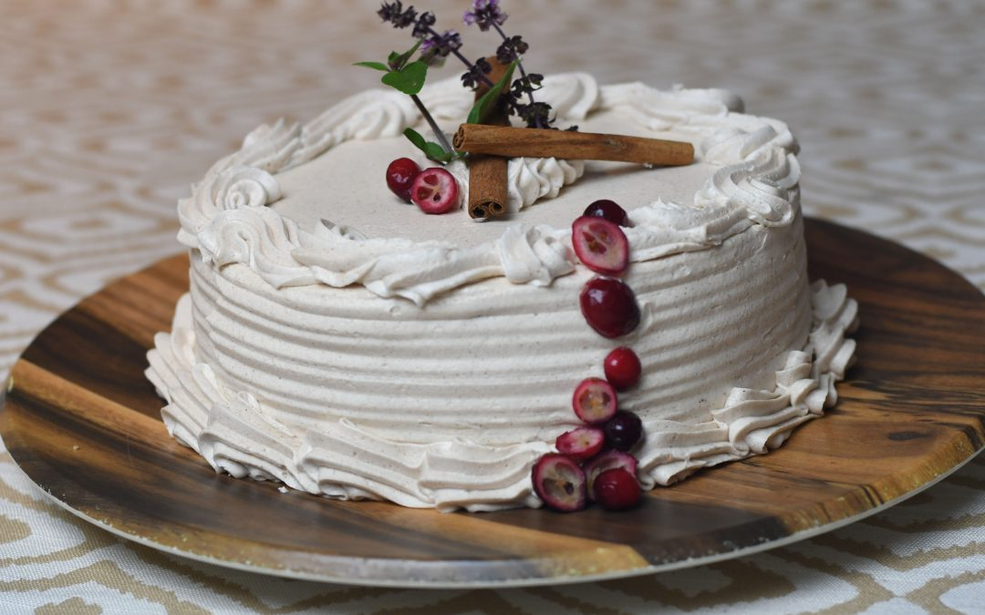 Cranberry Cake with Cinnamon Buttercream Frosting