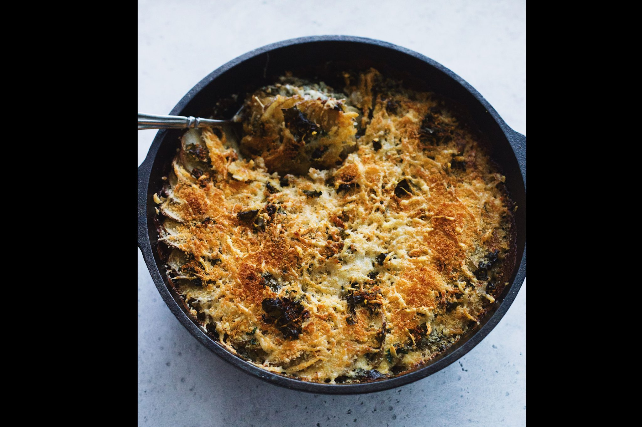 Cheesy Kale and Potato Gratin