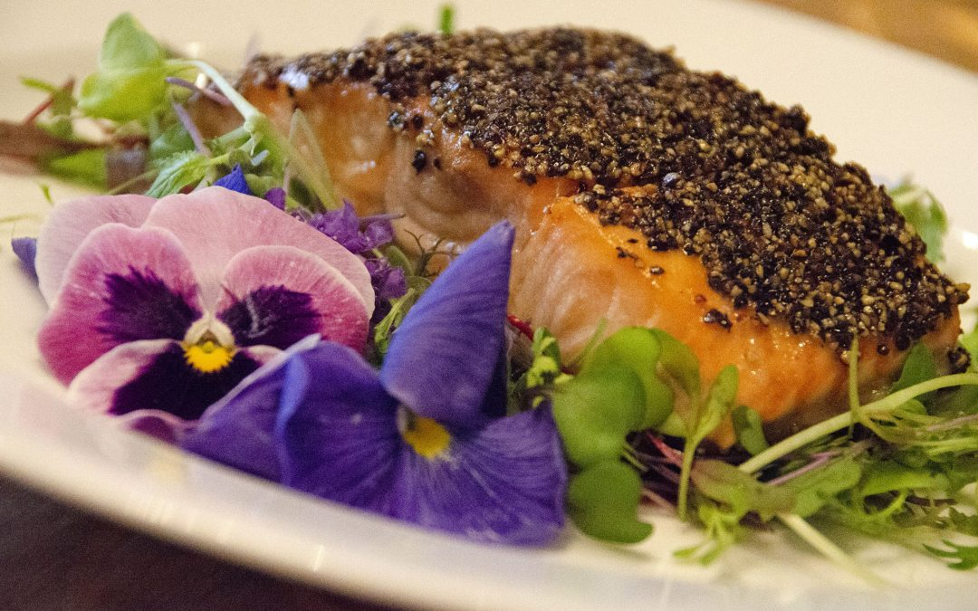 Pepper-Crusted Maple Lacquered Salmon