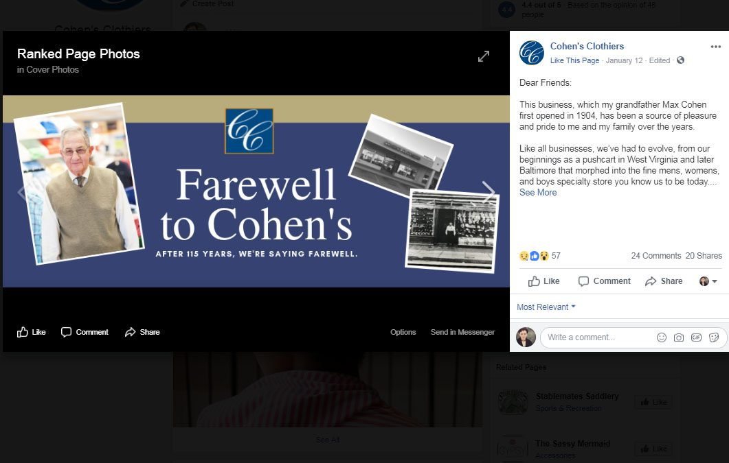 Cohen's Clothiers to Shut its Doors After 115 Years