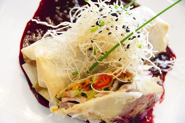 Duck Spring Roll with Wild Berry Sauce