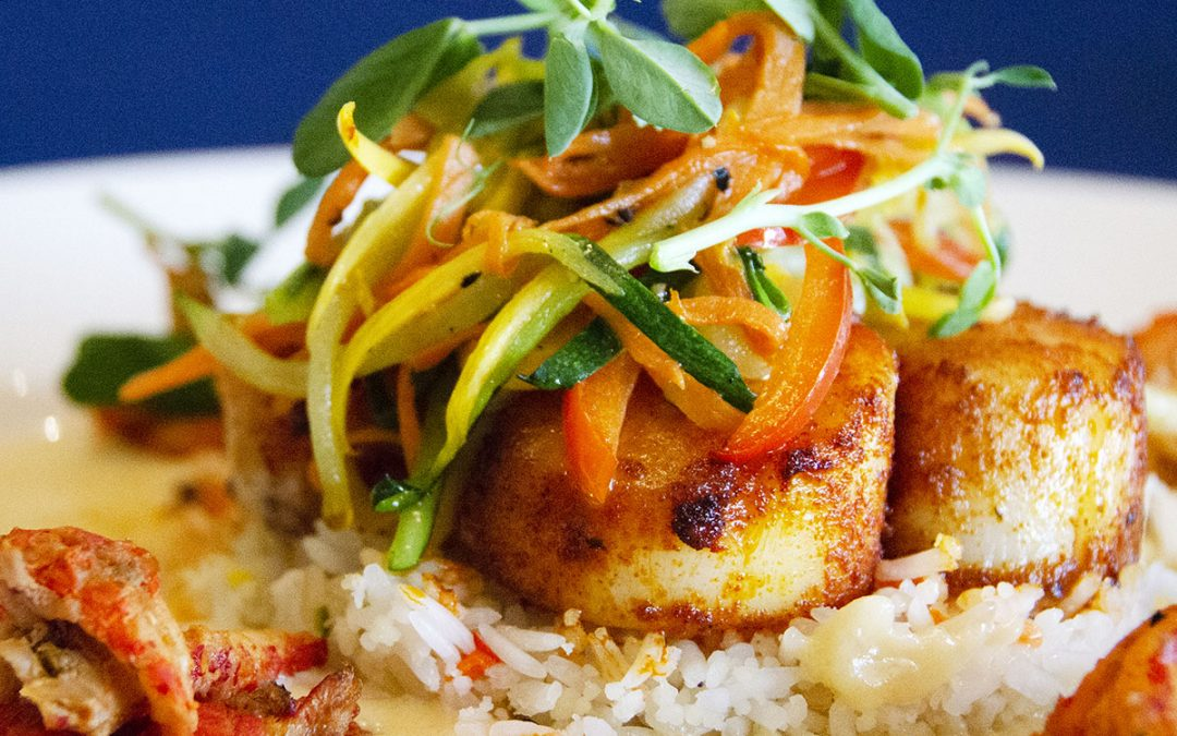 Cajun Style Scallops Over Rice