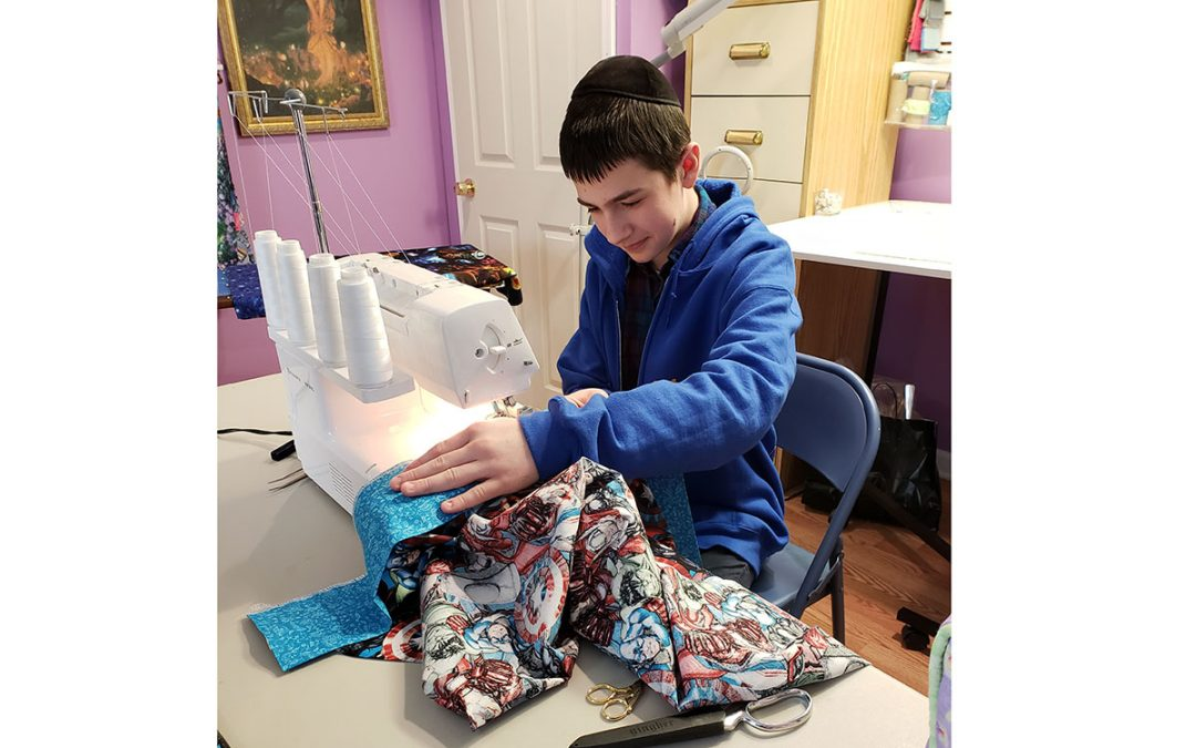 Bracha Strimber and Middle Schoolers Sew Pillowcases for Troops