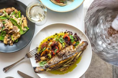 Sea Bass With Roasted Peppers and Herb Cream Filling