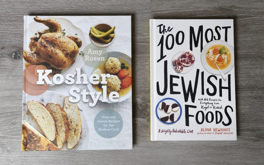 """""""Kosher Style"""" (Appetite by Random House) by Amy Rosen or """"The 100 Most Jewish Foods"""" (Artisan) by Alana Newhouse from Becket Hitch. (Photo by Steve Ruark)"""