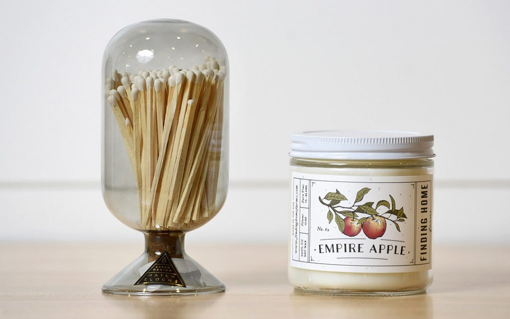 Empire Apple Candle and Match Cloche from Becket Hitch. (Photo by Steve Ruark)