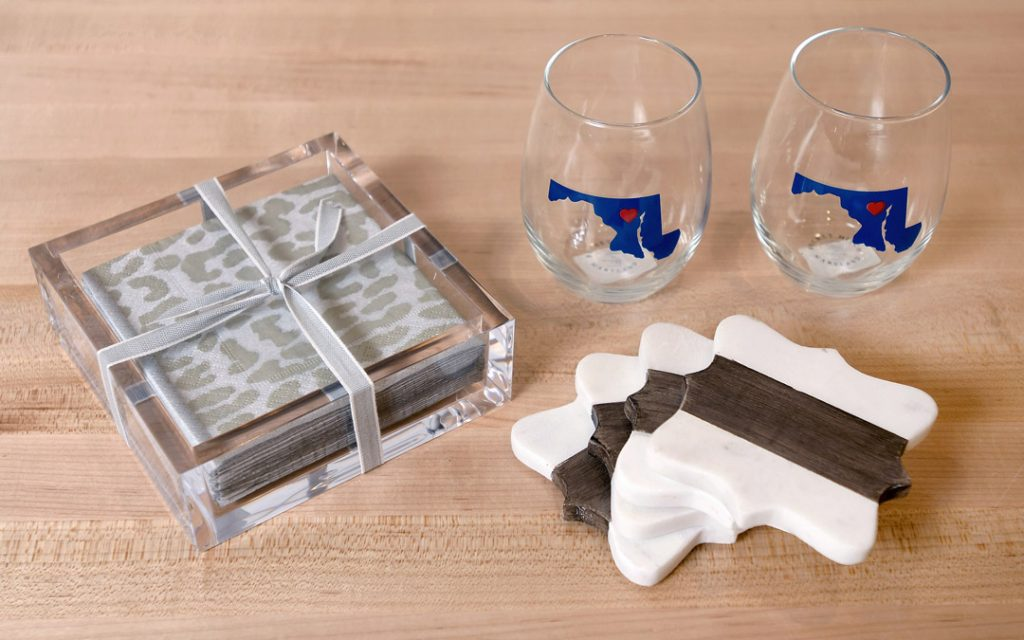 Wine Glasses, Coasters, and Napkin Holder with Napkins from Becket Hitch. (Photo by Steve Ruark)