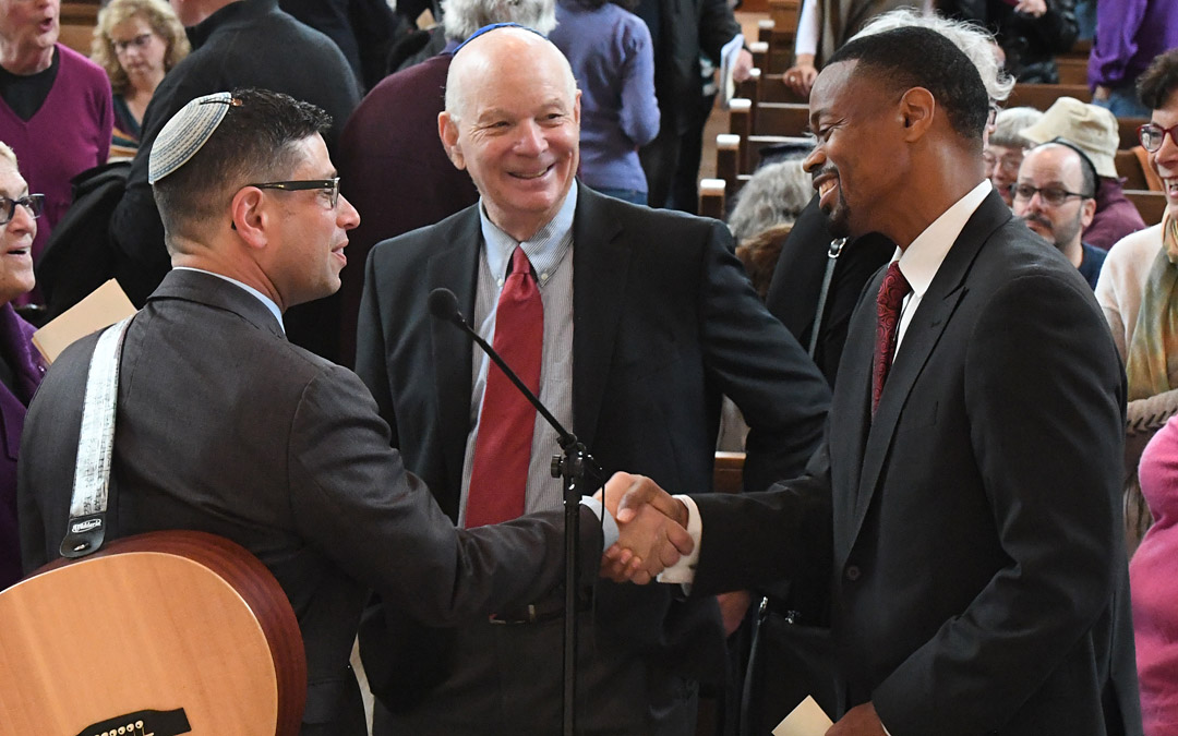 Sharing a special moment at the ceremony are (left to right) Rabbi Daniel Cotzin Burg of Beth Am, Sen. Benjamin L. Cardin and Baltimore City Councilman Leon F. Pinkett III. (Photo by Jim Burger)
