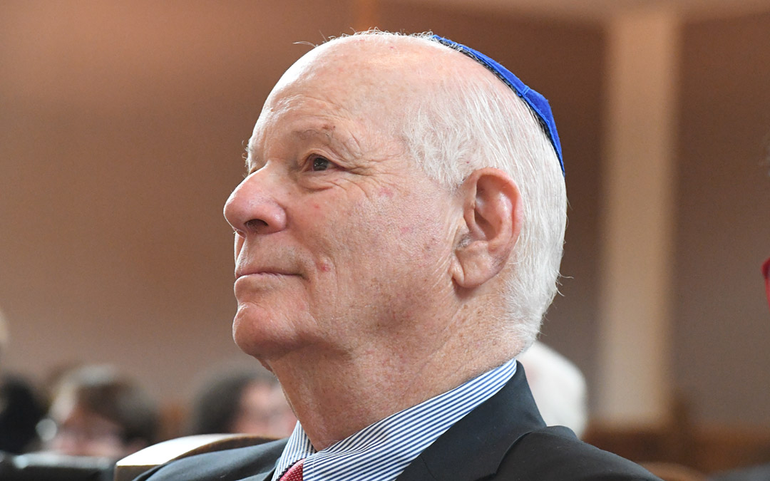 Sen. Benjamin L. Cardin listens to a speaker at the Beth Am rededication ceremony. (Photo by Jim Burger)