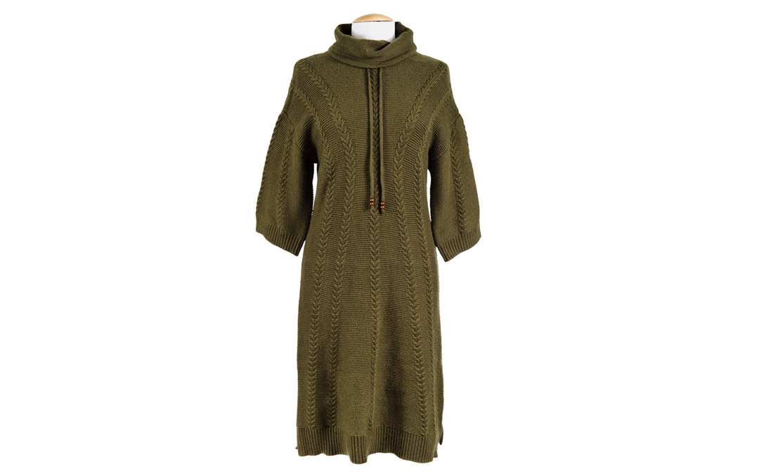 Be warm and fashionable in this cozy, comfortable sweater dress with flattering front cables and a drawstring turtleneck. $98.95 at Soft Surroundings
