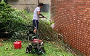 "For his Eagle Scout project, Shaya Wachtel planned and oversaw a beautification project for Congregation Beth Abraham, also known as ""Hertzberg's Shul,"" in Park Heights. (Provided photo)"