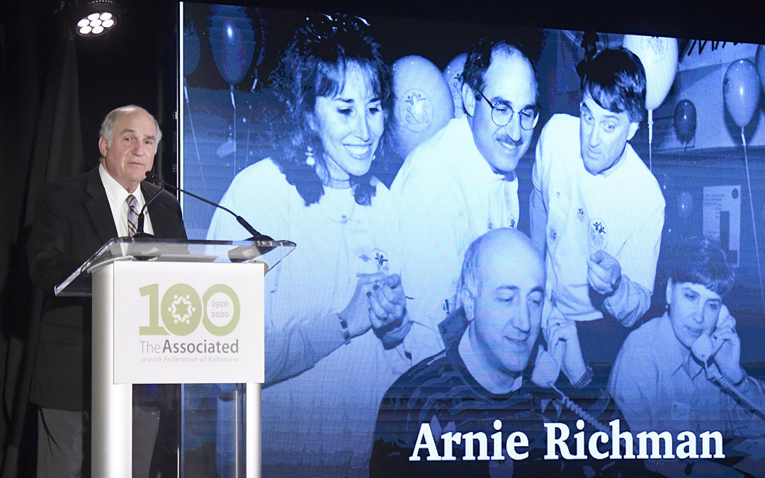 Donor Arnie Richman speaks during The Associated's Centennial Campaign kickoff. (Photo by Steve Ruark)