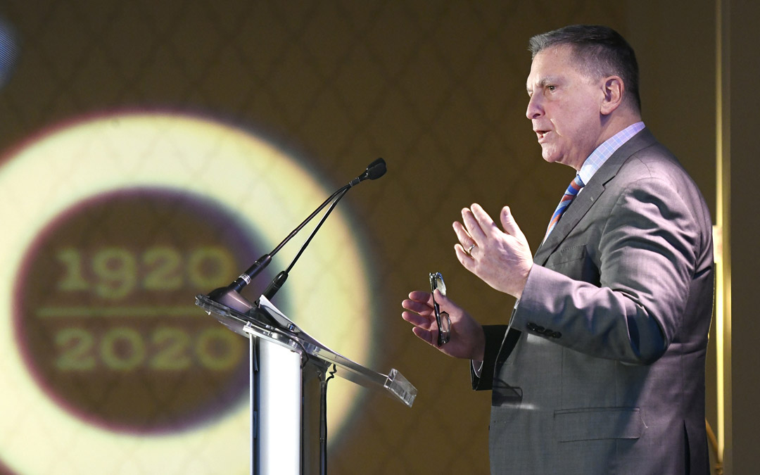 Marc B. Terrill, president and CEO of The Associated, speaks during the organization's Centennial Campaign kickoff. (Photo by Steve Ruark)