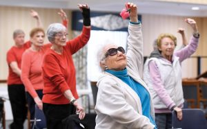 Weinberg Village resident Rose Wendel participates in a senior ballet class. (Photo by Steve Ruark)