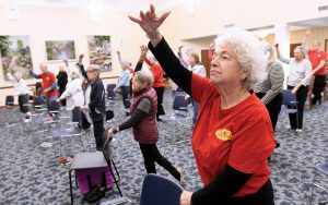Weinberg Village resident Shirley Rollins participates in a senior ballet class. (Photo by Steve Ruark)