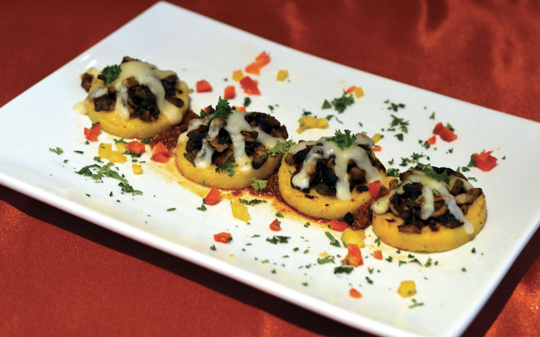 Polenta Bites with Mushrooms and Cheese
