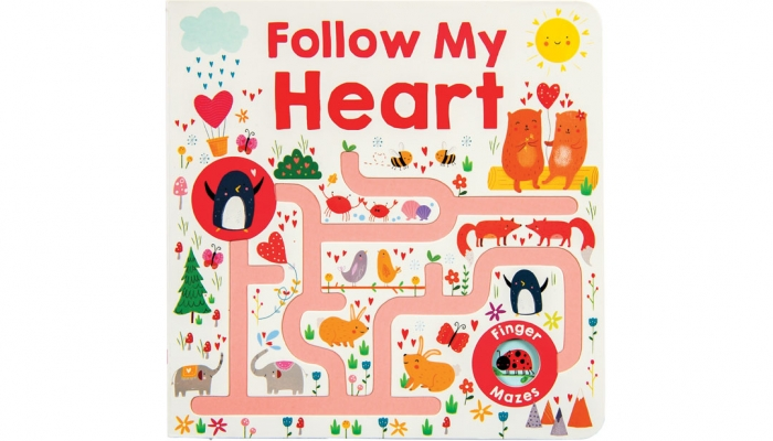 "Celebrate Valentine's Day with the whole family and help the animals find their pairs in this book of mazes. ""Follow My Heart,"" from Wee Chic; Priddy Book, $7.99."