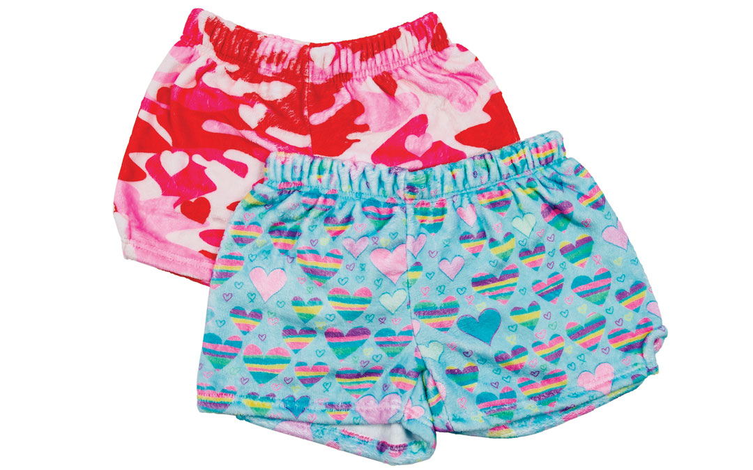 No matter the occasion, girls will love these cozy pajama shorts. Cameo Hearts Shorts from Wee Chic; Iscream, $24. Striped Hearts Shorts from Wee Chic; Iscream, $24.