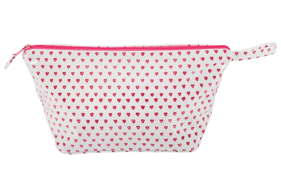 Take this heart-patterned cosmetic case on that romantic Valentine's Day getaway. Cosmetic Case from Becket Hitch; Roller Rabbit, $68.