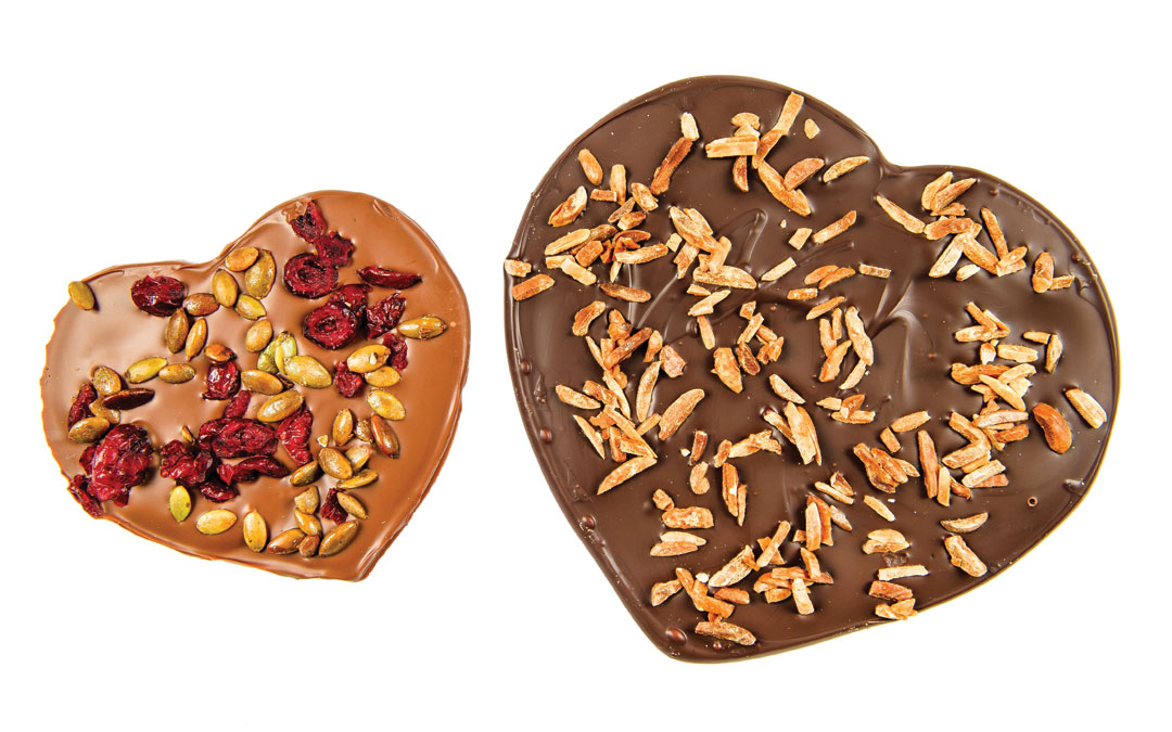 These kosher milk and dark chocolate hearts are the perfect present for your sweetheart. Medium Milk Chocolate Heart with Craisins & Pumpkin Seeds from The Velvet Chocolatier, $8. Large Dark Chocolate Heart with Almonds from The Velvet Chocolatier, $13.