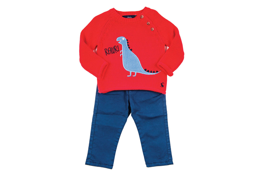 The littlest love in your life is sure to have a roarin' good time in this sweet ensemble. Rawr Dino Sweater from Wee Chic; Joules, $50. Navy Twill Pants from Wee Chic; Mayoral, $28.