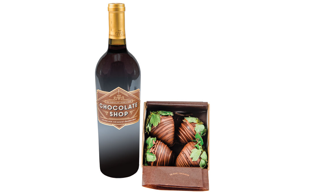 A sip of Chocolate Shop's Chocolate Lover's wine, with both milk and dark chocolate-covered strawberries, will create a memorable moment. Chocolate Shop wine from Quarry Wine & Spirits, $12.99. Chocolate Covered Strawberries from The Velvet Chocolatier, $17.