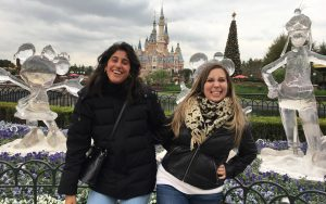 Ellicott City native Hannah Maia Frishberg visits Shanghai Disneyland with Hadas Hamam, a former Kehilat Shanghai coordinator and Moishe House resident, before the pandemic. (Provided photo)