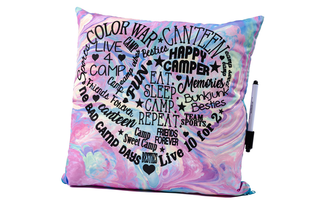 Help your kids keep the camp memories close with this signature pillow. Pillow from Wee Chic, $28 (Photo by Vince Lupo)