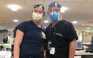 Dr. David Marcozzi stands with Brittany Nicholson, UMMC emergency department charge nurse.