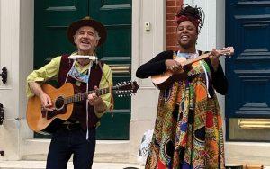 Dan and Claudia Zanes perform as part of Creative Alliance's Sidewalk Serenades program.