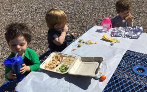 Toddler class enjoying a picnic lunch outside.